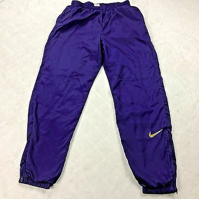VTG Nike Blue Nylon Lined Athletic Windbreaker Pant Red Swoosh Tag Womens SIZE L