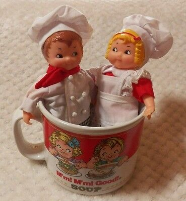 """Campbell's Soup Kids 5"""" Jointed Dolls with M'm! M'm! Good! Soup Mug Cup EUC"""