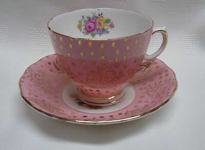 Colclough Tea cup and Saucer Pink with Gold Filigree and Floral Bouquet