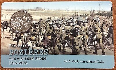2016 RAM 50 cent UNC Coin - the battle of pozieres the western front 1916-2016