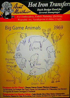"Aunt Martha's Hot Iron On Transfer # 3969  "" Big Game Animals """