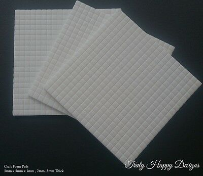 5mm x 5mm x 1mm, 2mm, 3mm, White Craft Foam Pads x 400 Double Sided Adhesive