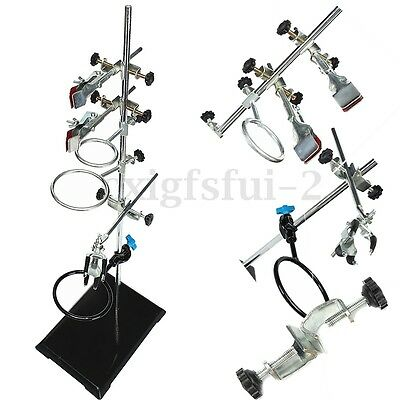 Laboratory 600mm Lab Stands Support + 9Pcs Lab Flask Clamp Condenser Stand Cilp