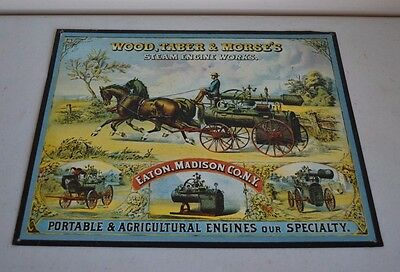 "Used Wood Taber Morse's Agricultural Engines 15""x12"" Metal/tin Sign Madison Ny"