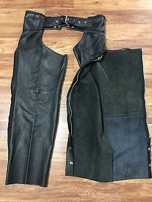 Mens Vtg Hot Leathers Motorcycle Biker Rocker Leather Chaps L/XL Black