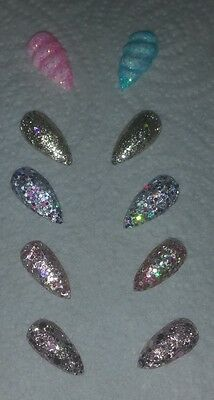10 Feature Nails Unique Random Bling Glitter Unicorn Horn False Full Cover
