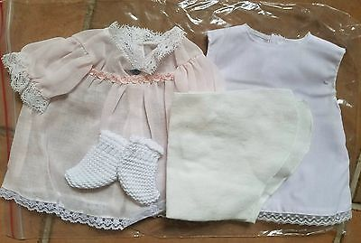 Repro DRESS, SLIP, DIAPER & BOOTIES for 1960 Tiny Thumbelina Doll WHITE/PINK
