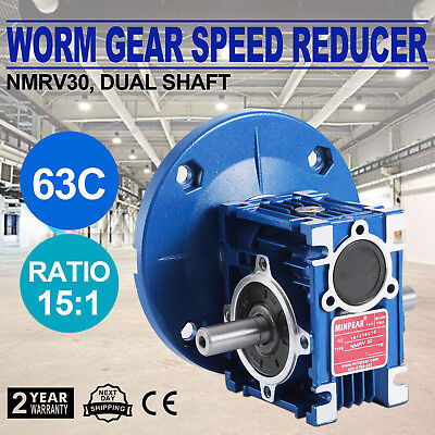 Worm Gear 15:1 63C Speed Reducer Gearbox Dual Output Shaft New Vevor 0.38HP