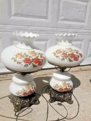 PAIR OF ANTIQUE HURRICANE Table LAMPS RARE~ Milk GLASS X-TRA LARGE GREAT GIFTS