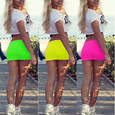 US STOCK Women Candy Color Stretch Tight Short Bodycon Lady Pleated Mini Skirt