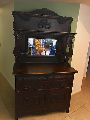Antique Buffet with Mirror