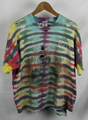 Vintage Tie-Dye Rush 1996 Tour T-shirt Distressed Sz XL