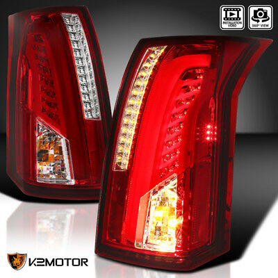 2003-2007 Cadillac CTS Chrome Red LED Bar Tail Lights Brake Lamps Left+Right