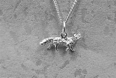 "Sterling Silver (925)  Solid 3D Charm ""Fox"""