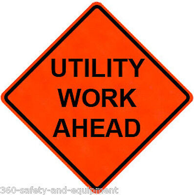 """Utility Work Ahead 48"""" X 48"""" Vinyl Fluorescent Roll Up Sign With Ribs"""