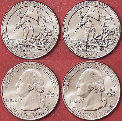 Brilliant Uncirculated 2016 P & D US Fort Moultrie 25 Cents From Mint's Rolls