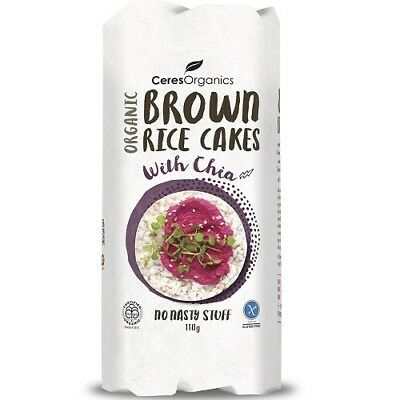 NEW Ceres Organics Brown Rice Cakes with Chia (Organic) ~ 110g
