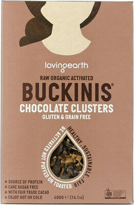 NEW Loving Earth  Buckinis Chocolate Clusters (Organic) ~ 400g