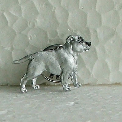 English Staffordshire Bull Terrier Staffy White Lapel Pin Dog Breed Jewellery