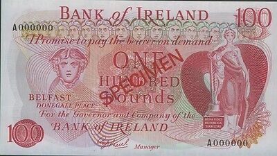 Bank of Ireland Specimen £100 banknote (Rare)