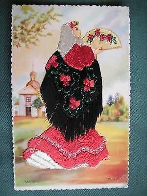 Superb vintage Spanish embroidered postcard from 1950s