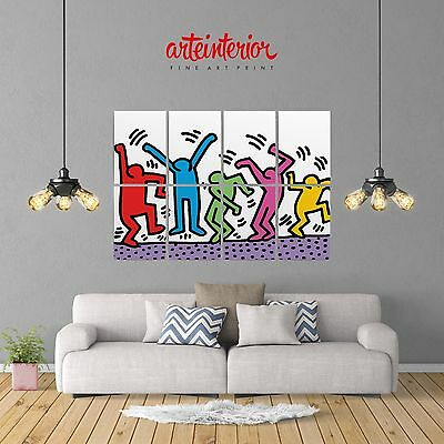 KEITH HARING - THE DANCERS - POSTER GIGANTE 131x91 cm Stampa FINE ART Wall Print