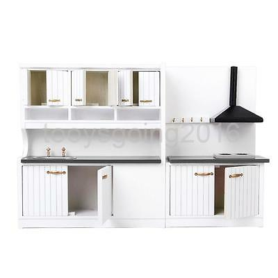 1/12 Dollhouse Miniature Modern Furniture Wooden Kitchen Stove Cabinet Set