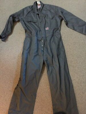 New With Tags Designer King Gee Grey Long Sleeved Work Overalls Tan Xl