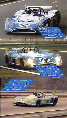 Calcas Matra MS670 Le Mans 1972 12 14 15 1:32 1:43 1:24 1:18 MS 670 decals