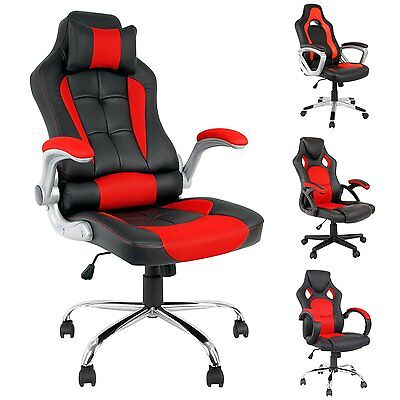 Office Chair Executive Recliner Racing Adjustable Gaming Support Faux Leather