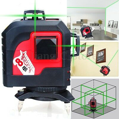 12 Line 360° Rotary 3D Horizontal &Vertical Cross Laser Level Line Self-leveling