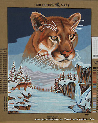 TAPESTRY CANVAS - COLLECTION d'ART - LIONESS IN THE SNOW - CLEARANCE !!