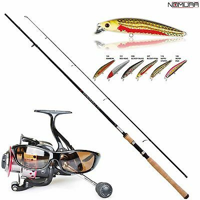 KP2281 Kit Pesca Spinning Canna Basic 2,10 Mulinello 2000 occhiali 6 esche CSP