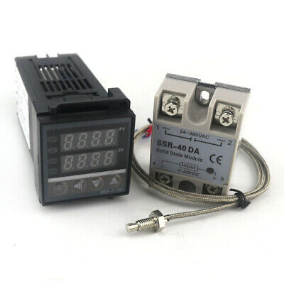 PID Dual Digital Thermostat Temperature Controller 220V 10A AC REX-C 100 K SSR