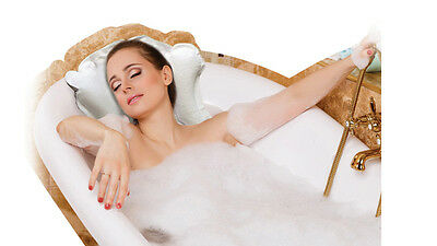 Inflatable Luxury Bath Pillow with Suckers   White Head Rest Bath Cushion
