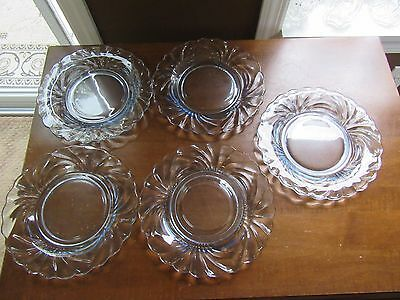"5 - Vtg Cambridge Glass Moonlight Blue Caprice 8 1/2"" Luncheon Plates"