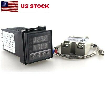 Digital PIDTemperature Controller Thermostat AC220V10A SSR KProbe Thermocouple