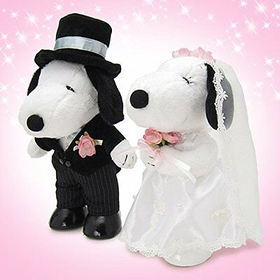 PEANUTS Snoopy & Belle Plush Welcome Wedding Dolls set of 2 NEW JAPAN