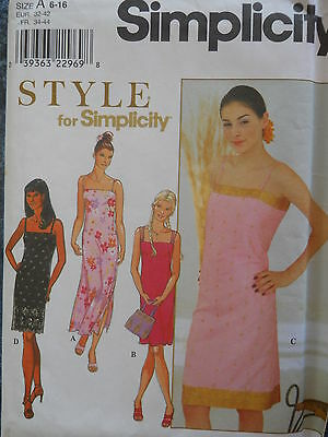 Simplicity Sewing Pattern-STYLE-Misses' DRESS-Strap Variations-Size: 6-16-UNCUT