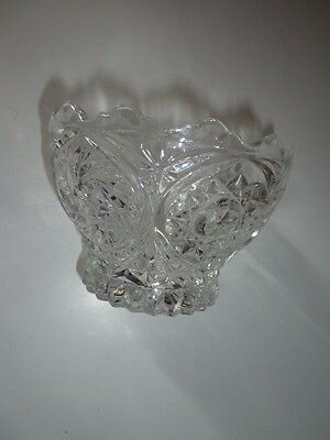 10Cm Tall Cut Glass Bowl With Frilled Edge/8Cm Dia Solid Base