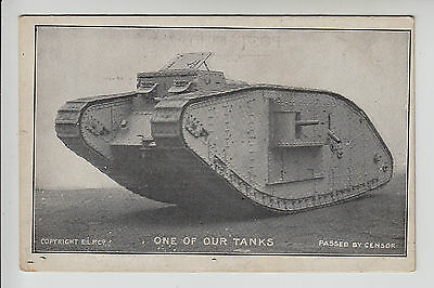 """Military/WW1: One of Our Tanks - Weaponry - Image """"Passed by Censor"""" - PC (1694)"""