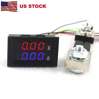 2 in1 Digital Voltmeter Ammeter Amp Voltage Tester DC 100V 100A Shunt Red Blue
