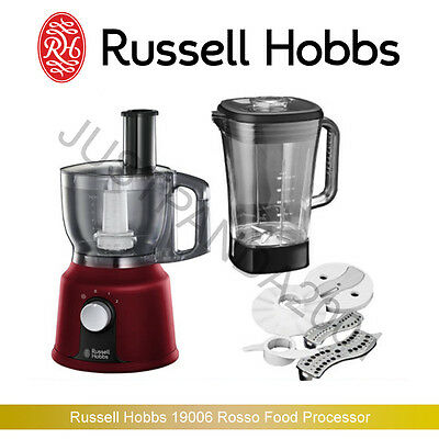 Russell Hobbs 19006 Rosso Food Processor, 1.5 L, 600 W - Red