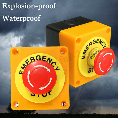 660V 10A Red Sign Weatherproof Emergency Stop Button Switch Station 1 NO 1 NC