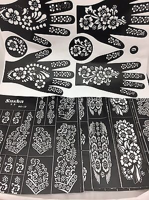 Henna Stencil Mehndi Stencils Arabic/Indian Style Pack Of 6 Pages Just For £3.99