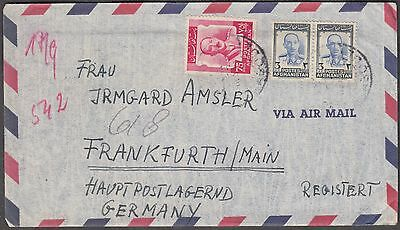 Afghanistan 1953 3 Values On Scarce Airmail Cover To Germany