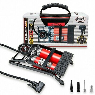 Double barrel cylinder foot pump with gauge 10BAR 140PSI PREMIUM HEYNER PEDALMAX