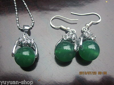 10 Sets Wholesale Asian Natural Green Jade Beads Necklace / Earrings