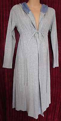 MAMAS & PAPAS Ladies 8/10 36/38 Grey Hooded Maternity Dressing Gown/Long Robe
