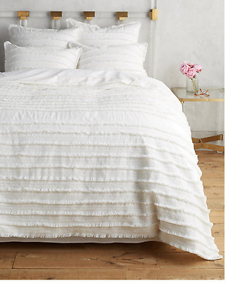 NEW Anthropologie Fringed Duvet Cover! White! Queen - $248!